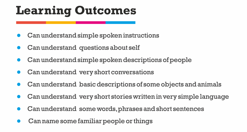 pre-a1-learning-outcomes